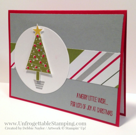 Unfrogettable Stamping | QE Christmas Week 2 card featuring the Festival of Trees stamp set and coordinating punch with Merry Moments DSP from Stampin' Up!