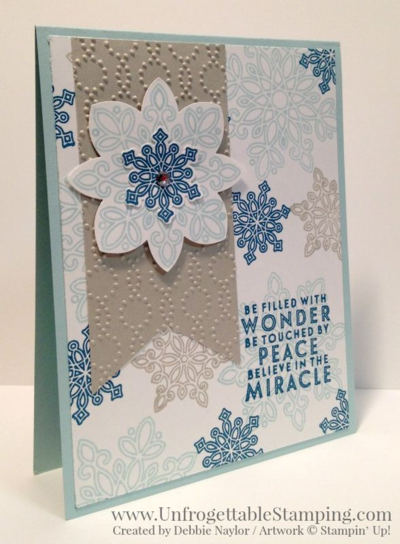 Unfrogettable Stamping | 2015 Week 4 QE Christmas card featuring the Flurry of Wishes stamp set and coordinating Snow Flurry punch bundle by Stampin' Up!