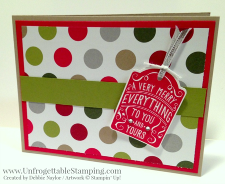 Unfrogettable Stamping | 2015 QE Christmas Week 7 card featuring the Merry Everything and Note Tag punch bundle and Merry Moments DSP stack by Stampin' Up!