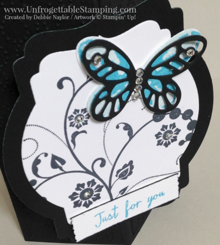 Unfrogettable Stamping | Fabulous Friday decorative corner card featuring the Watercolor Wings bundle, Flowering Flourishes stamp set, Butterflies thinlits, Deco Labels framelits, Elegant dots texture folder and washi label punch by Stampin' Up! in honor of Black Friday