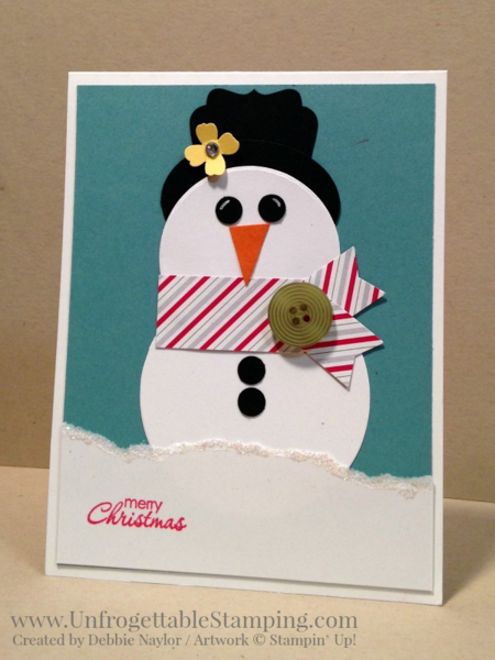Unfrogettable Stamping | Fabulous Friday Christmas card featuring punches by Stampin' Up! to create a punch art snowman