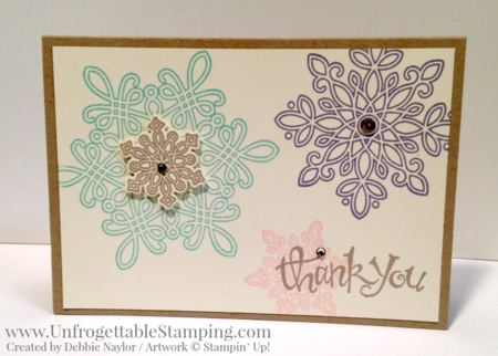Unfrogettable Stamping | 2015 QE Christmas Week 12 thank you card featuring the Snow Flurry of Wishes bundle by Stampin' Up!