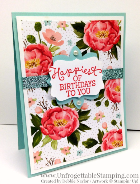Unfrogettable Stamping | QE birthday card featuring the Birthday Bouquet DSP and Birthday Blooms stamp set by Stampin' Up! for the week of 2016-03-14