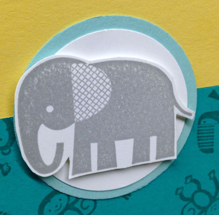 Unfrogettable Stamping | QE It's a Boy card featuring the Zoo Babies stamp set by Stampin' Up! and card sketch FTL #23 for week of 2016-04-11