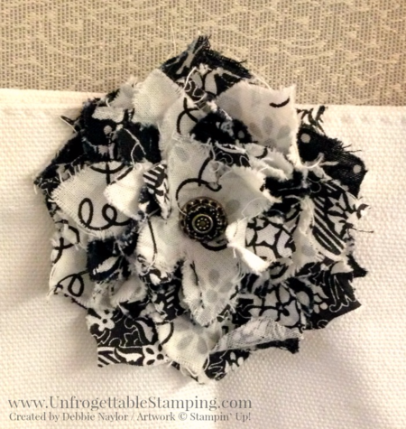 Unfrogettable Stamping | Fabulous Friday fabric flower embellishment created using the Flower Frenzy Bigz L die by Stampin' Up! found on the Clearance Rack!!!!