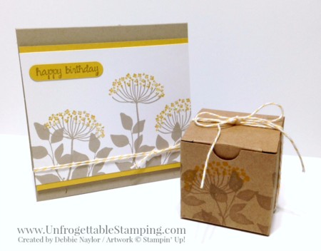 Unfrogettable Stamping | Fabulous Friday CASE'd birthday card and coordinating stamped gift box featuring the retiring Summer Silhouettes stamp set, Word Window punch and Hello Honey In Color by Stampin' Up!