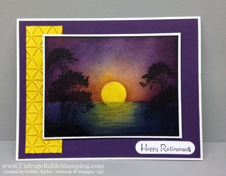 Unfrogettable Stamping Fabulous Friday Serene Silhouettes sunset retirement card