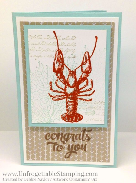 Unfrogettable Stamping | Fabulous Friday Pop Up Diorama card featuring the retiring By the Tide stamp set and It's my Party DSP stack from Stampin' Up!