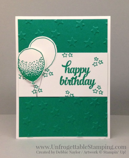 Unfrogettable Stamping   CASE of Narelle Fasulo birthday card featuring the Balloon Celebration bundle and Emerald Envy In Color by Stampin' Up! for week of 2016-06-13