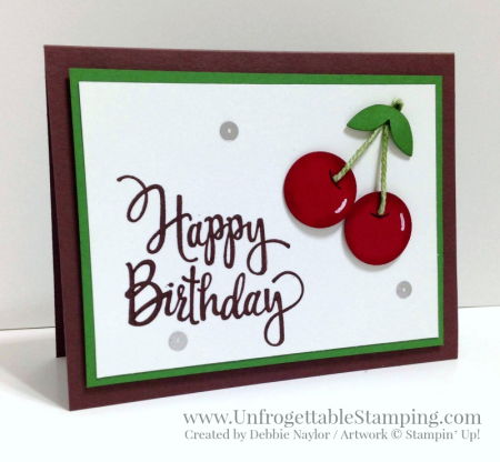 Unfrogettable Stamping | Fabulous Friday birthday card featuring the Stylized Birthday stamp and punch art cherries created using various punches by Stampin' Up!