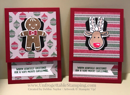 Unfrorgettable Stamping | 2016 QE Christmas Week 9 gift card holder featuring the Warmth and Cheer DSP stack and Cookie Cutter stamp set and coordinating punch by Stampin' Up!
