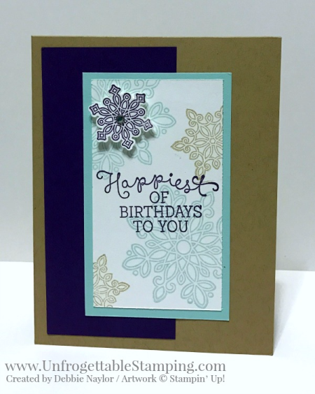 Unfrogettable Stamping | QE birthday card featuring the Flurry of Wishes stamp set and coordinating Snow Flurry punch from Stampin' Up! for the week of 2017-01-09