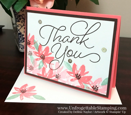 Unfrogettable Stamping | QE thank you card featuring the Sale-a-Bration selections Avant Garden and So Very Much stamp sets by Stampin' Up! for week of 2017-01-30