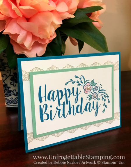 Unfrogettable Stamping    QE birthday card featuring the Big on Birthdays and Delicate Details stamp sets from Stampin' Up! for the week of 2017-02-27