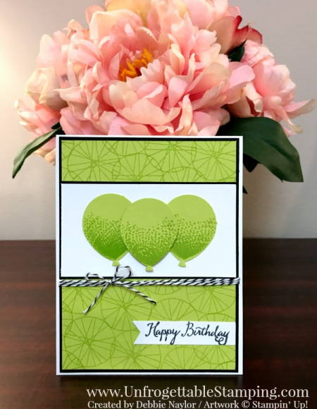 Unfrogettable Stamping | Fabulous Friday birthday card featuring the new In Color Lemon-Lime Twist along with the Balloon Celebration stamp set and coordinating Balloon Bouquet punch by Stampin' Up!