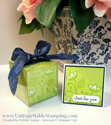 Unfrogettable Stamping | Fabulous Friday altered clear tiny treat box with matching mini card featuring the Flourishing Phrases stamp set by Stampin' Up!