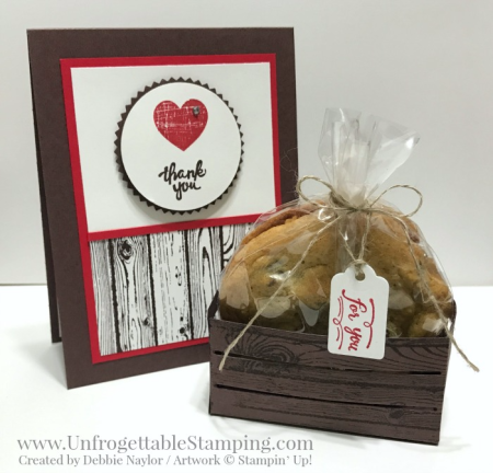 Unfrogettable Stamping | Fabulous Friday Chocolate Chip Cookie Crate and Card featuring the Wood Words bundle from Stampin' Up!
