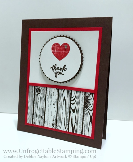"""Unfrogettable Stamping   Fabulous Friday thank you card featuring the Wood Words bundle, Hardwood stamp set, Starburst and 2"""" circle punches from Stampin' Up!"""