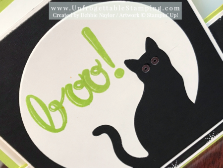 Unfrogettable Stamping | Fabulous Friday fun fold Halloween card featuring the Cat punch and Hand Lettered Alphabet stamp set by Stampin' Up!