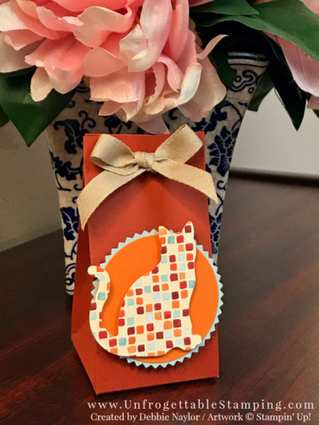 "Unfrogettable Stamping | Stampers Dozen Blog Hop featuring the Painted Autumn DSP by Stampin' Up! This 2-4-6-8 favor box also features the Cat punch and crumb cake 3/8"" classic weave ribbon"