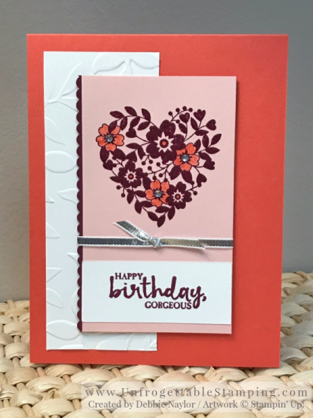 Unfrogettable Stamping | Fabulous Friday Color Combo (Calypso Coral, Powder Pink and Rich Razzleberry) birthday card featuring the Bloomin' Love and Beautiful You stamp sets by Stampin' Up!