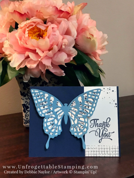 Unfrogettable Stamping   Fabulous Friday Navy card featuring the Butterflies thinlits, Timeless Textures and One Big Meaning stamp set by Stampin' Up!
