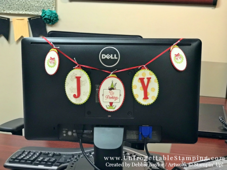 Unfrogettable Stamping   Fabulous Friday holiday banner featuring the Festive Phrases and Santa's Sleigh stamp sets, Layering Ovals & Stitched Shapes framelits and Circle Tab punch by Stampin' Up!