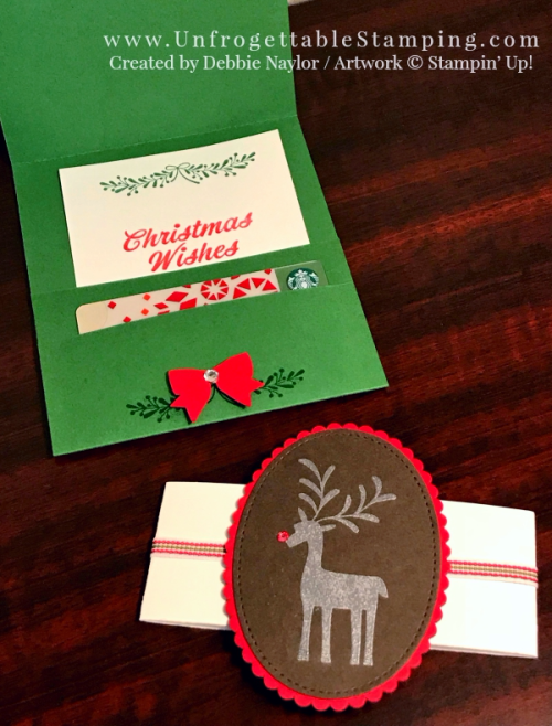 Unfrogettable Stamping | Fabulous Friday gift card holder featuring the Merry Mistletoe stamp set from Stampin' Up!