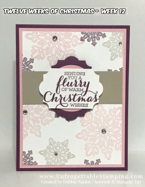 Unfrogettable Stamping | 2017 Week 12 QE Christmas card featuring the Flurry of Wishes stamp set and Everyday Label punch by Stampin' Up!