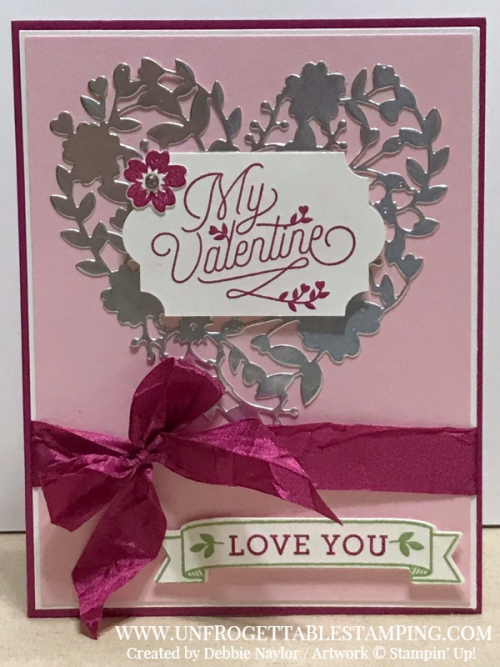 Unfrogettable Stamping | Fabulous Friday Valentine Day card featuring the Bloomin' Love stamp set and coordinating Bloomin' Heart thinlits by Stampin' Up!