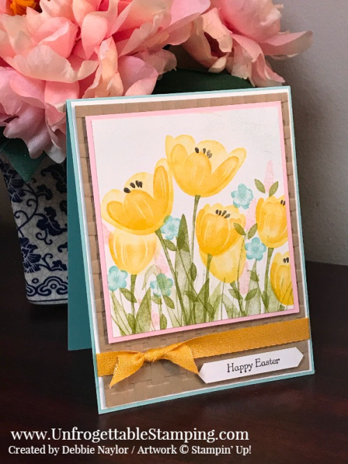 Unfrogettable Stamping | Fabulous Friday Easter card featuring the Tranquil Tulips exclusive Host stamp set, Sale-a-Bration Basket Weave dynamic folder and crushed curry ribbon by Stampin' Up!