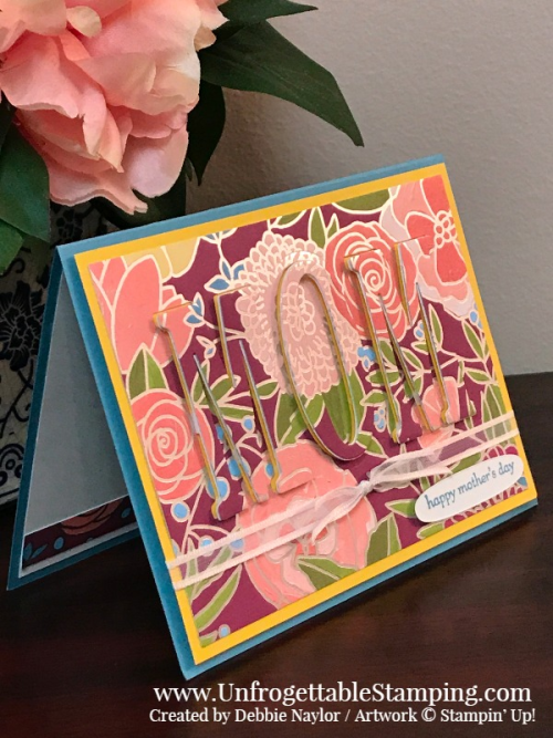 Unfrogettable Stamping | Fabulous Friday Mother's Day card featuring the retiring Sweet Soiree DSP and Large Letters framelits from Stampin' Up!