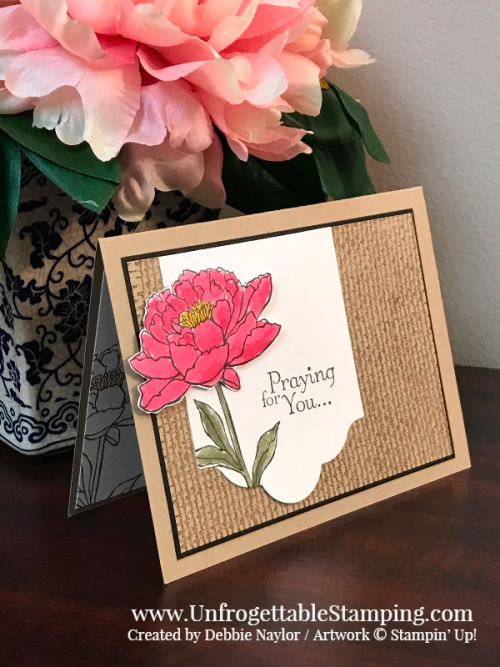 Unfrogettable Stamping | Fabulous Friday CASE'd sympathy card featuring the retiring You've Got This and Thoughts & Prayers stamp sets, Lots of Labels thinlits for the Big Shot along with Rose Red and Always Artichoke ink pads from Stampin' Up!