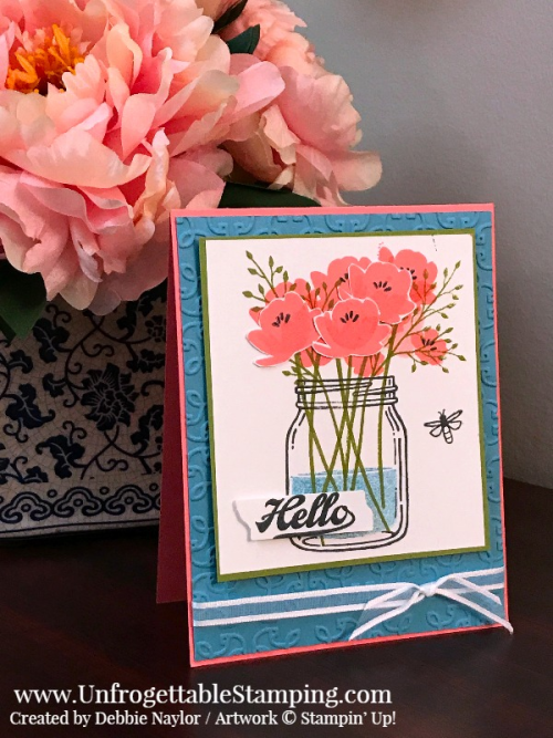 Unfrogettable Stamping | Stampers Dozen May Blog Hop Color Challenge card featuring Flirty Flamingo, Marina Mist and Old Olive.