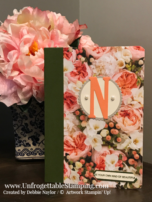 Fabulous Friday | Back-to-school alterened notebook featuring the Petal Promenade DSP, Arftully Folded stamp set, Classic Label punch and Big Shot, Large Letters and Layering Circles framelits by Stampin' Up!