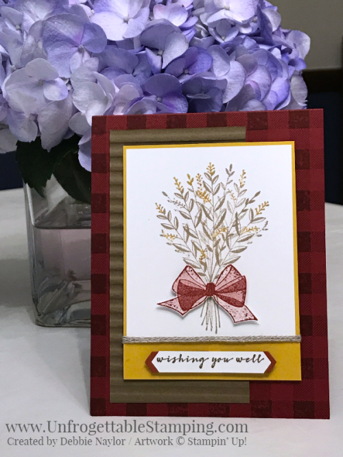Unfrogettable Stamping | October 2018 Stampers Dozen Happy Fall Y'all card featuring the Wishing You Well and Buffalo Check stamp sets from Stampin' Up!