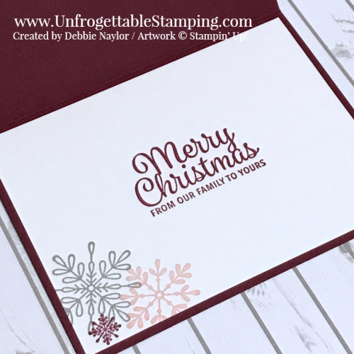 Unfrogettable Stamping | Stampers Dozen November 2018 Blog Hop Color Challenge Christmas card featuring the Snowflake Sentiments stamp set by Stampin' Up!