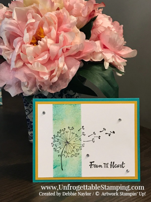 Unfrgoettable Stamping | Fabulous Friday sponged Pinterest-inspired card featuring the Dandelion Wishes stamp set by Stampin' Up!