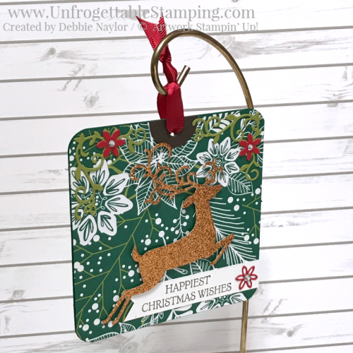 Unfrogettable Stamping | Fabulous Friday Christmas ornament featuring the Dashing Deer bundle and Under the Mistletoe DSP by Stampin' Up!