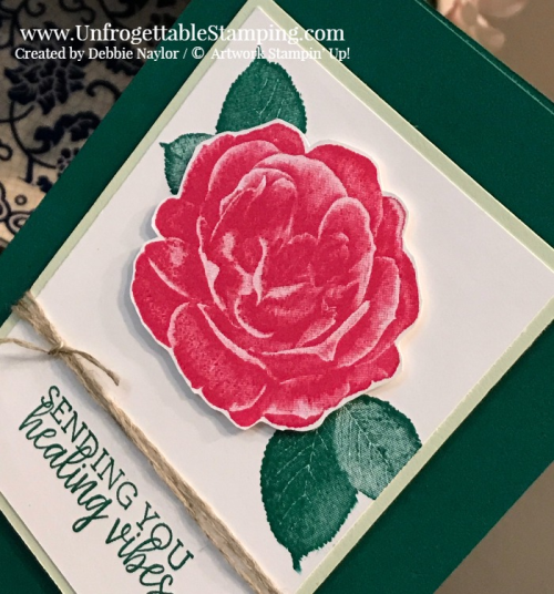 Unfrogettable Stamping | Fabulous Friday get well card featuring the Healing Hugs stamp set and new colors Shaded Spruce and Soft Sea Foam along with Melon Mambo by Stampin' Up!