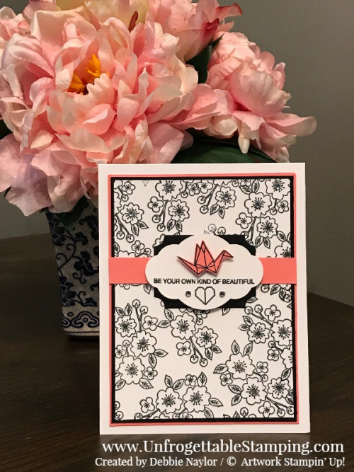 Fabulous Friday | Black and White with a pop of Flirty Flamingo Artfully Folded card by Stampin' Up!