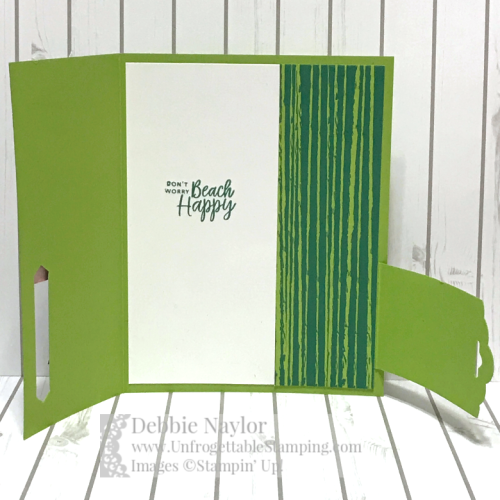 Unfrogettable Stamping | Fabulous Friday fun fold big buckle thank you card featuring the Beach Happy stamp set and Tropical Escape DSP from Stampin' Up!