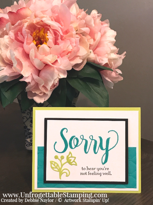 Unfrogettable Stamping | Fabulous Friday Color Challenge card featuring Bermuda Bay and Lemon-Lime Twist,  Sorry for Everything stamp set, Big Shot, Flourishes thinlits and Tufted dynamic texture folder by Stampin' Up!