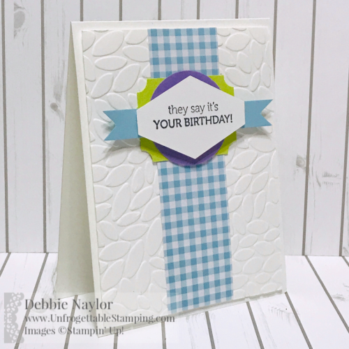 Unfrogettable Stamping | Fabulous Friday Quick and Easy Birthday card set featuring the Itty Bitty Birthday stamp set and Gingham Gala DSP pack from the Stampin' Up! Occasions catalog