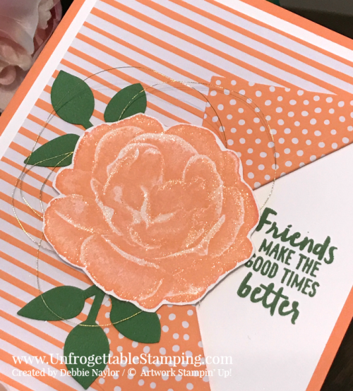 Unfrogettable Stamping | Fabulous Friday Friend card featuring the 2018-2020 In Color DSP stack, Healing Hugs and Waterfront stamp sets and Leaf punch by Stampin' Up!