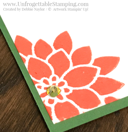 Unfrogettable Stamping | Fabulous Friday favorite embellishments card featuring Rhinestone jewel accents, the Flourishing Phrases stamp set, Tufted dynamic textured impressions folder for the Big Shot and Stampin' Blends markers in Calyspo Coral and Daffodil Delight from Stampin' Up!