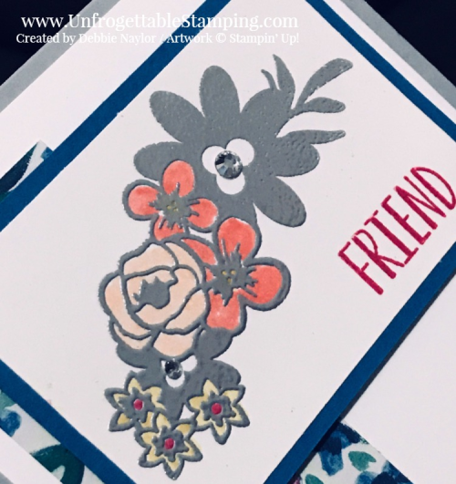 Unfrogettable Stamping | Fabulous Friday friend card featuring the Bouquet Blooms stamp set and Garden Impressions DSP stack from Stampin' Up!