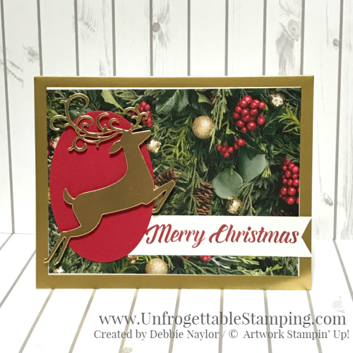 Unforgettable Stamping | Fabulous Friday QE Christmas card featuring the Gold Foil-Edged Cards and Envelopes, All is Bright DSP, Timeless Tidings stamp set and Detailed Deer Thinlits by Stampin' Up!