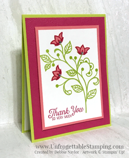 Unfrogettable Stamping | August 2018 Stampers Dozen Color Challenge blog hop thank you card featuring the Flourishing Phrases stamp set and Subtle dynamic textured impressions folder by Stampin' Up!