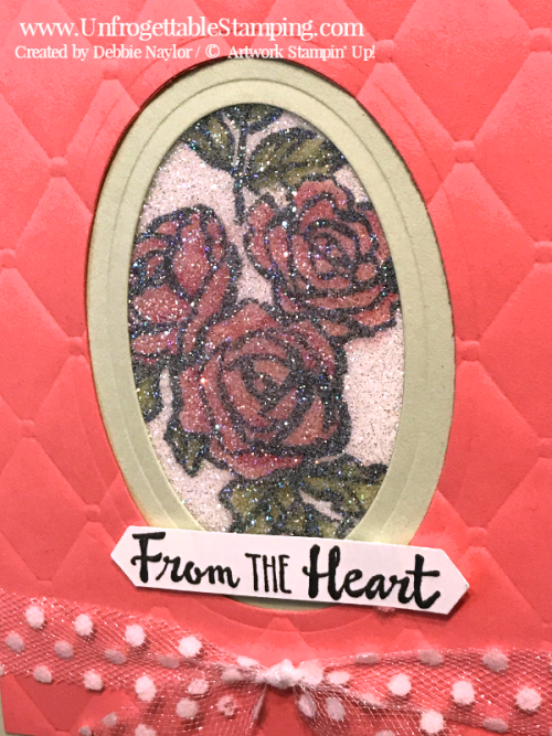 Unfrogettable Stamping | Fabulous Friday Glitter Window card featuring the Petal Palette stamp set, Big Shot, Tufted dynamic texture folder, Layering Ovals framelits, Polka Dot tulle ribbon and Classic Label punch by Stampin' Up!